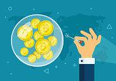 Bitcoin bubble burst concept