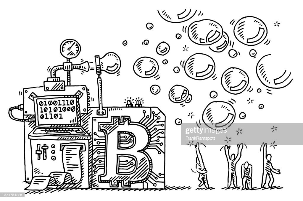 Bitcoin Bubble Machine Concept Drawing : stock illustration