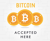 Bitcoin coin and text bitcoin accepted here