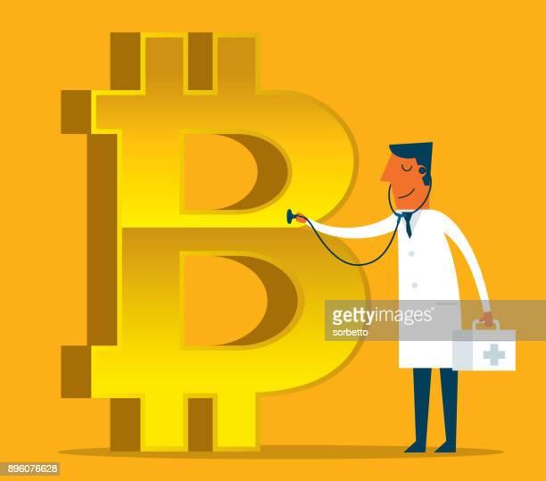 ilustrações, clipart, desenhos animados e ícones de conceito de bitcoin - doente - finanças e economia