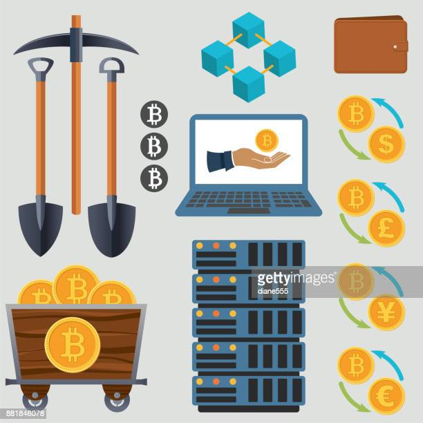 Bitcoin Cryptocurrency Design Elements - Flat Design
