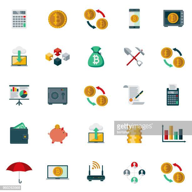 bitcoin cryptocurrency フラットなデザイン アイコンを設定 - 仮想通貨点のイラスト素材/クリップアート素材/マンガ素材/アイコン素材