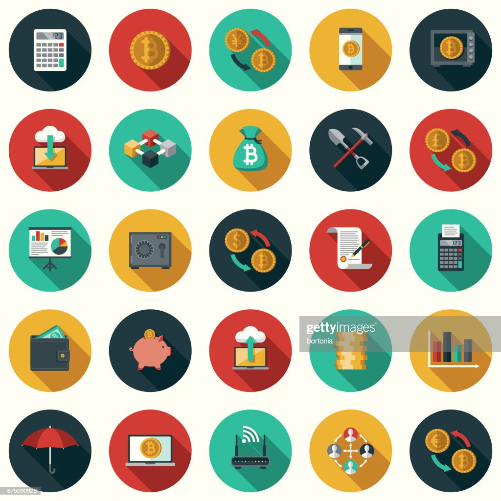 Bitcoin Cryptocurrency Flat Design Icon Set with Side Shadow