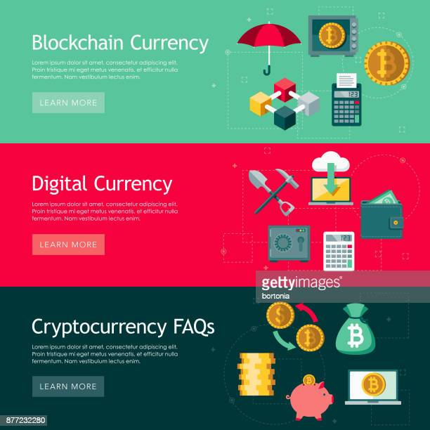 Bitcoin Cryptocurrency Flat Design Web Banners Set