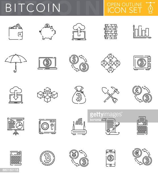 Bitcoin Cryptocurrency Open Outline Icon Set in Flat Design Style