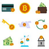 Bitcoin Financial Related Vector Illustration Graphic Icon Set