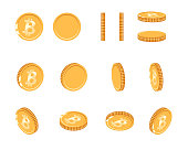 Bitcoin gold coin at different angles for animation. Vector Bitcoin set. Finance money currency bitcoin illustration. Digital currency. Vector icon