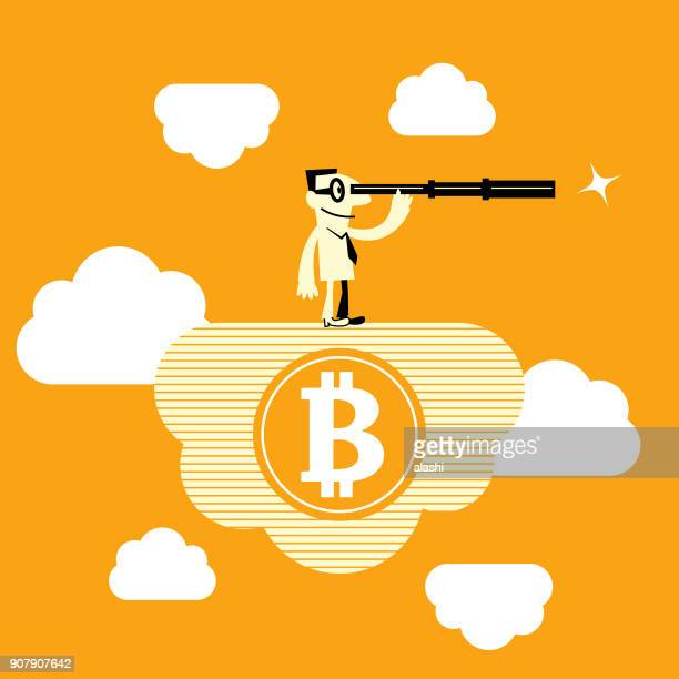 Bitcoin governance, cryptocurrency mining, business man (miner) standing on cloud and looking through hand-held telescope