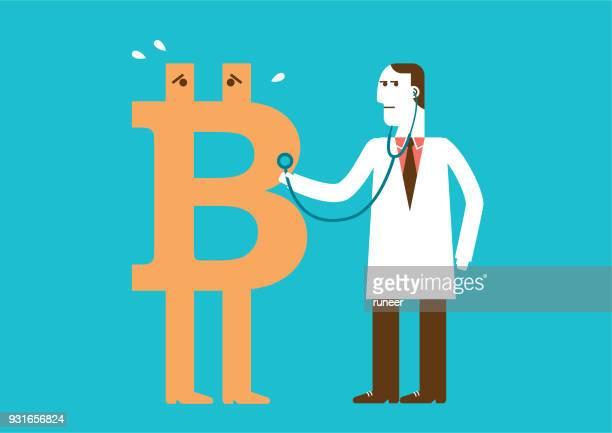 ilustrações, clipart, desenhos animados e ícones de bitcoin saúde check-up   novo conceito de negócio - finanças e economia