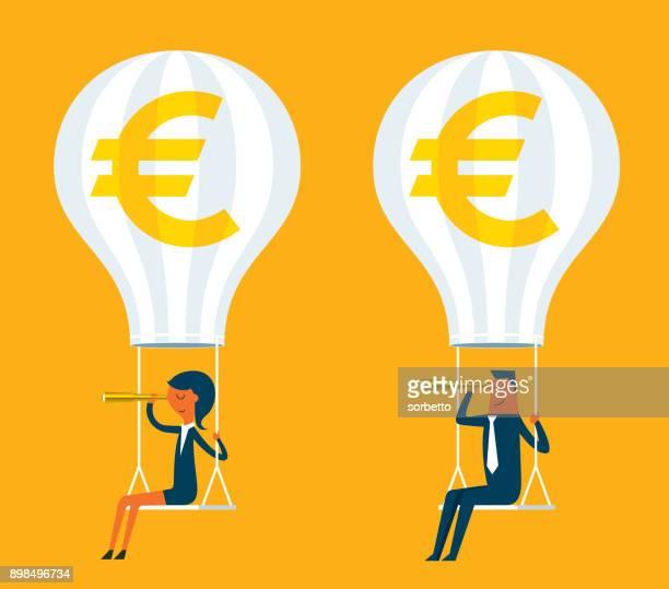 bitcoin - 熱気球 - ユーロ圏点のイラスト素材/クリップアート素材/マンガ素材/アイコン素材