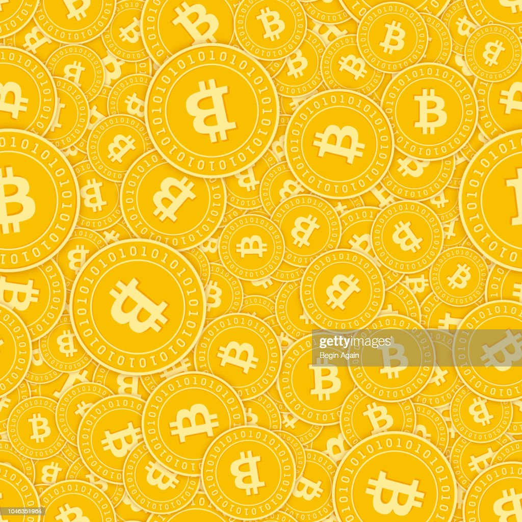 Bitcoin, internet currency coins seamless pattern. Symmetrical scattered BTC coins. Big win or succe