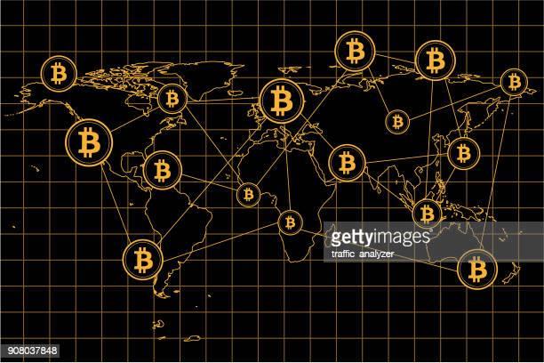illustrazioni stock, clip art, cartoni animati e icone di tendenza di mappa bitcoin del mondo - bitcoin
