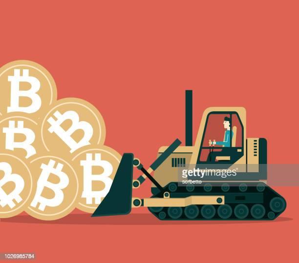 ビットコイン鉱業 - ブルドーザー - 仮想通貨マイニング点のイラスト素材/クリップアート素材/マンガ素材/アイコン素材