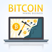 Bitcoin mining concept. Earning cryptocurrency in computer with internet.