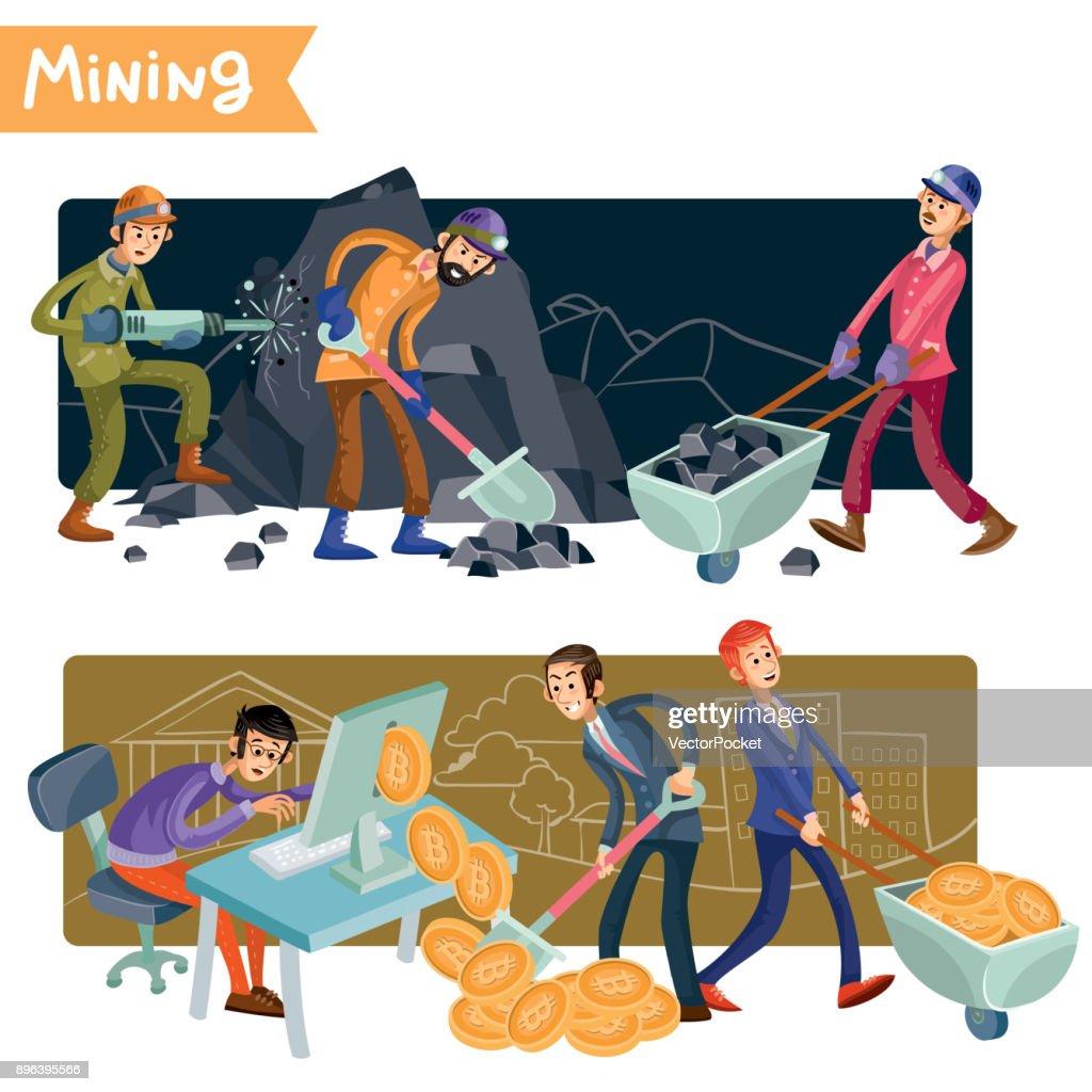Bitcoin mining concept vector illustration