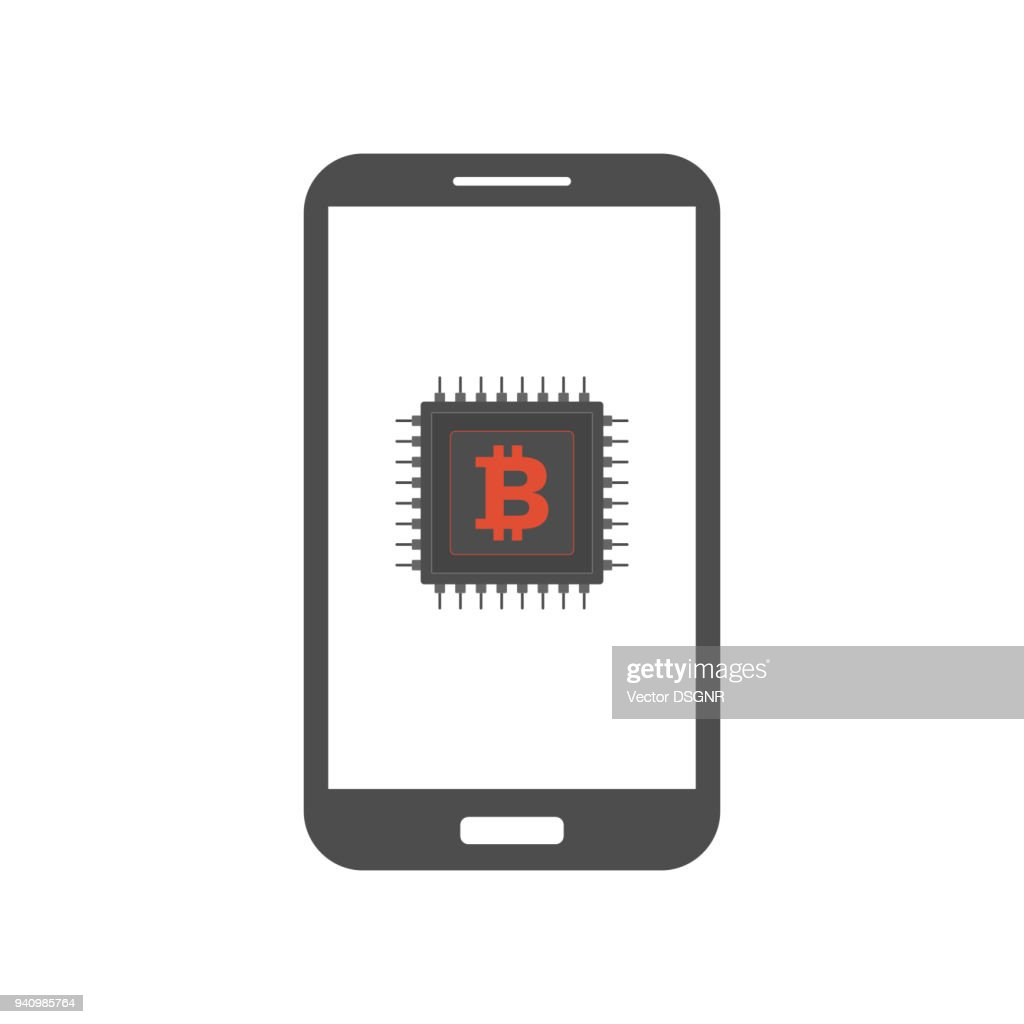 Bitcoin mining on smartphone. Vector icon