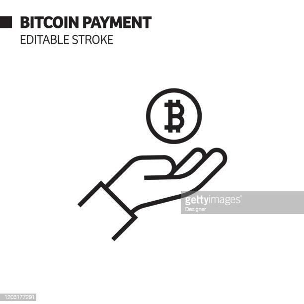 ビットコイン支払いライン アイコン、アウトライン ベクトル シンボルの図ピクセルパーフェクト、編集可能なストローク。 - ビットコイン点のイラスト素材/クリップアート素材/マンガ素材/アイコン素材