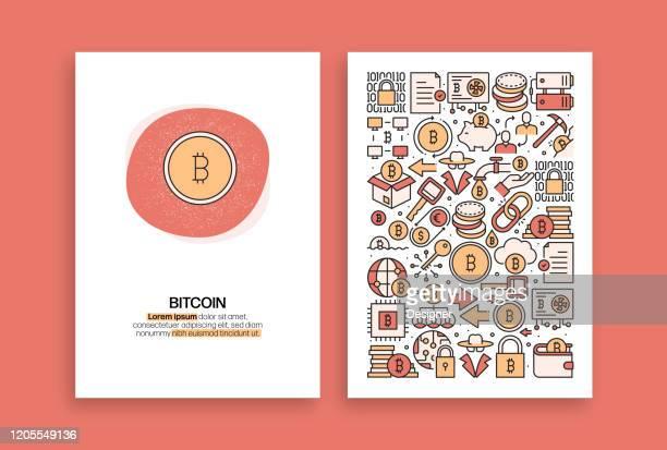 ビットコイン関連デザイン。パンフレット、カバー、チラシ、年次報告書のための現代のベクトルテンプレート。 - 仮想通貨マイニング点のイラスト素材/クリップアート素材/マンガ素材/アイコン素材