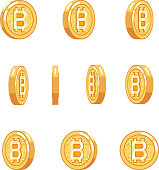 Bitcoin rotation animation coin technology digital money internet currency isolated icons set flat design vector illustration