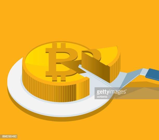 bitcoin slice - cake stock illustrations, clip art, cartoons, & icons