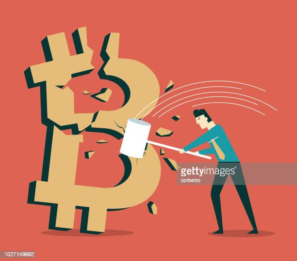 bitcoin symbol being hit with a hammer - attacking stock illustrations, clip art, cartoons, & icons