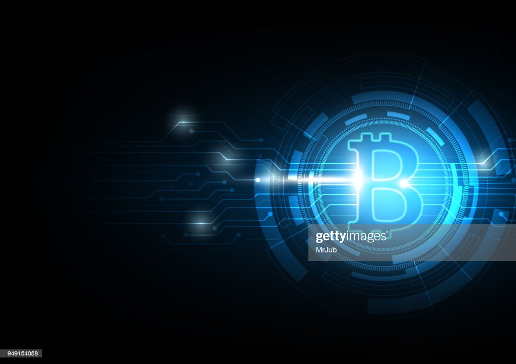 Bitcoin symbol with electronic diagram on blue abtract technology background for Cryptocurrency concept, Vector illustration