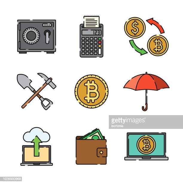 Bitcoin Thin Line Icon Set