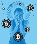 Bitcoins and young mixed race woman with shocked expression