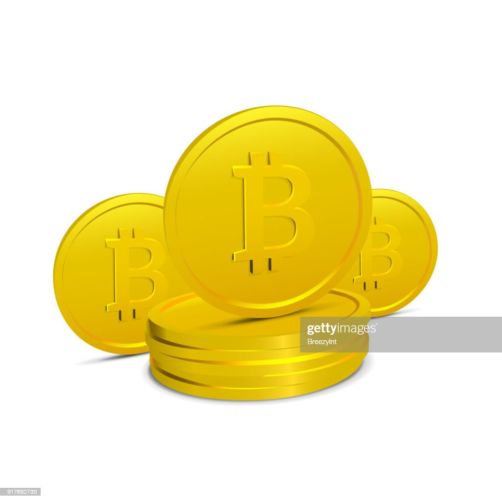 Bitcoins Isolated on White Background Few Realistic 3D Gold Crypto Coins