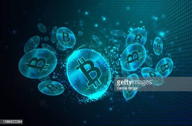 バイナリコードデジタルバックグラウンドを持つビットコイン - 仮想通貨点のイラスト素材/クリップアート素材/マンガ素材/アイコン素材