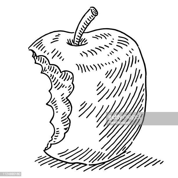 Apfel-Frucht-Zeichnung zu beißen