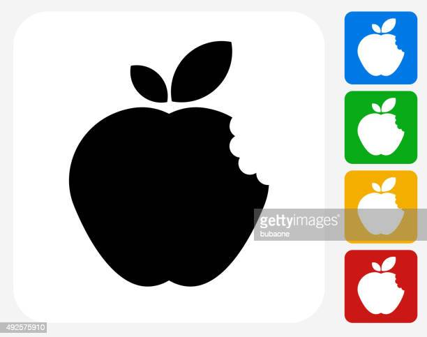 Bitten Apple Icon Flat Graphic Design