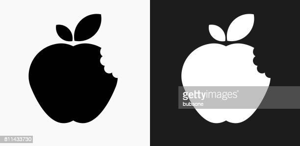 Bitten Apple Icon on Black and White Vector Backgrounds