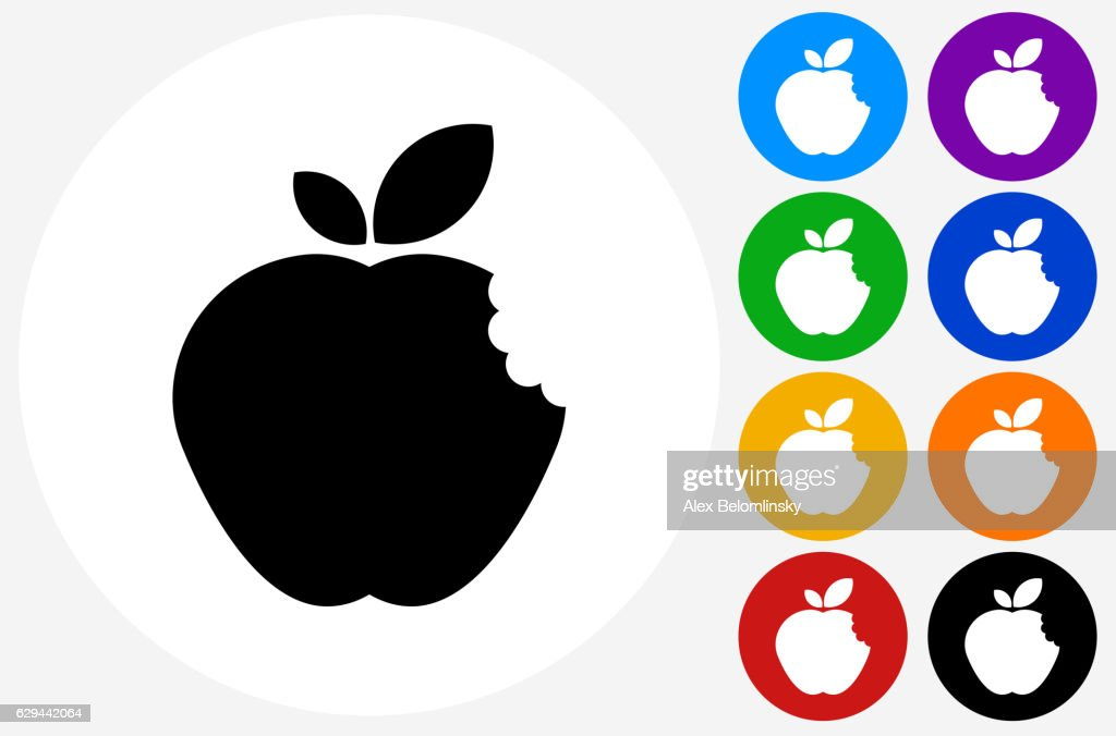 Bitten Apple Icon on Flat Color Circle Buttons
