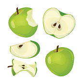 Bitten apple, whole, half and slice isolated on white background