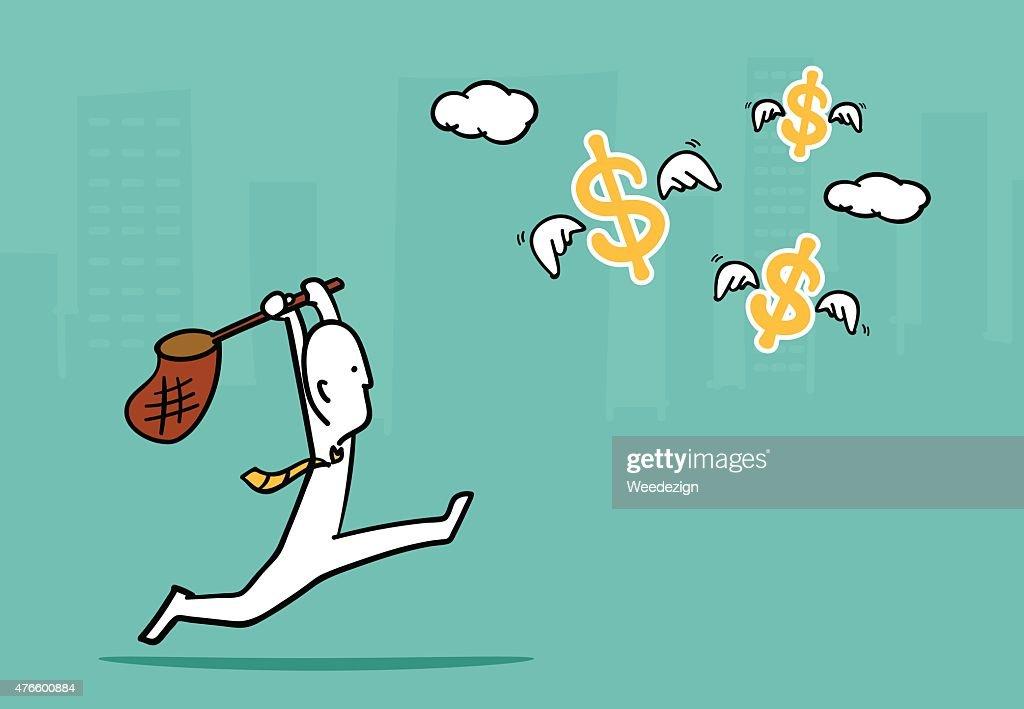 Biz man concept : Business man running catch flying dollar