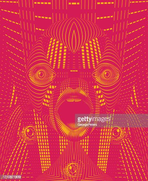 bizarre face with shocked expression - surrealism stock illustrations