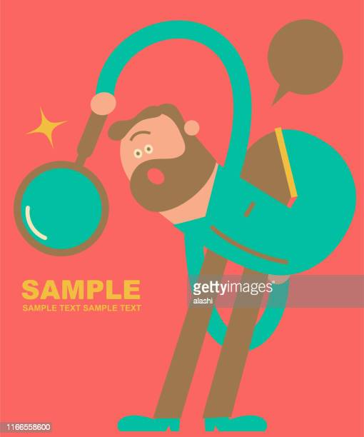 bizarre man (designer) twisting his body and holding a magnifying glass - contortionist stock illustrations