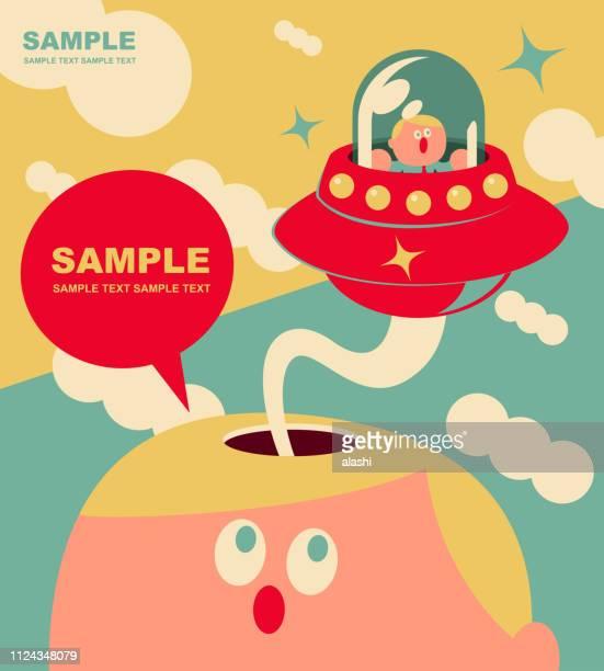 Bizarre small cute office worker flying UFO from giant man open head