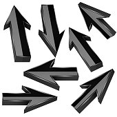 Black 3d arrows. Set of shiny straight signs