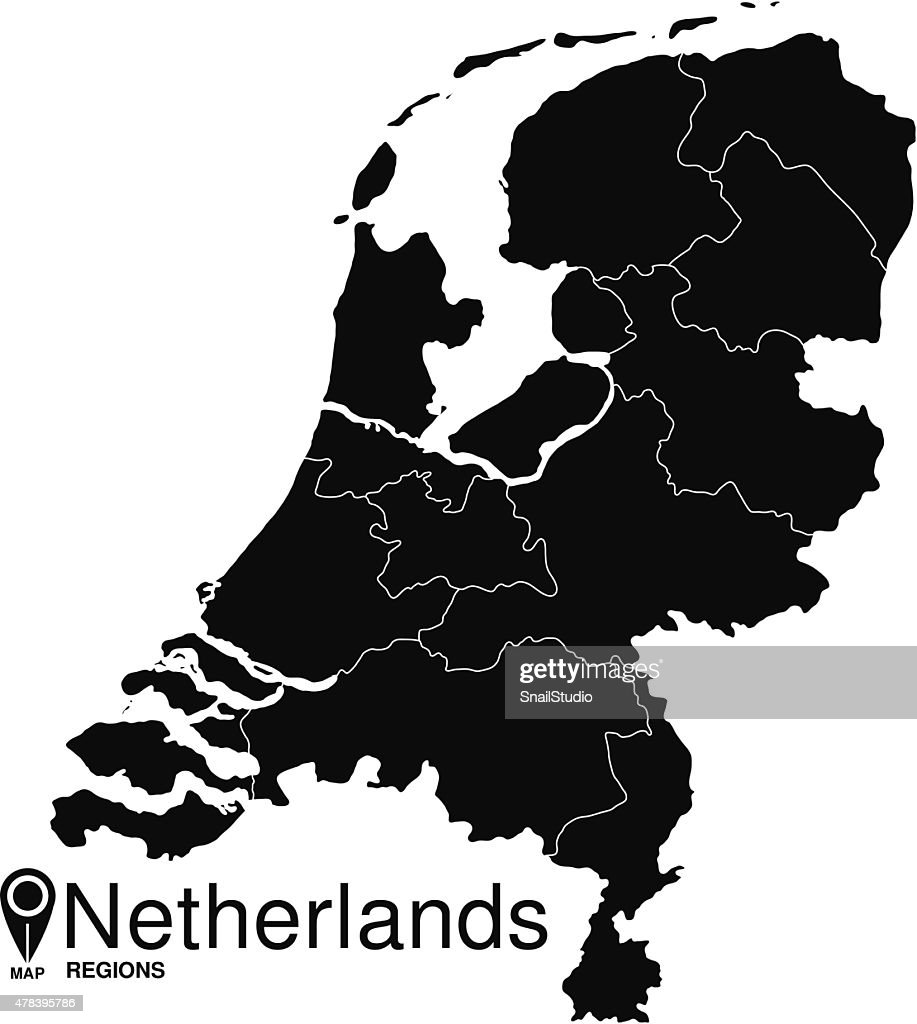 Black abstract map of Netherlands