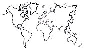 black abstract map of the world