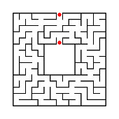 black abstract square maze with place