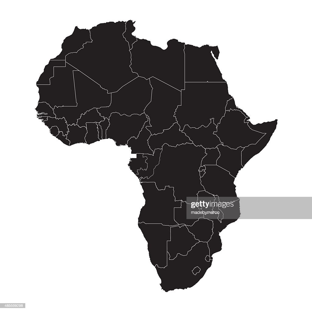 Black Africa silhouette map with border lines