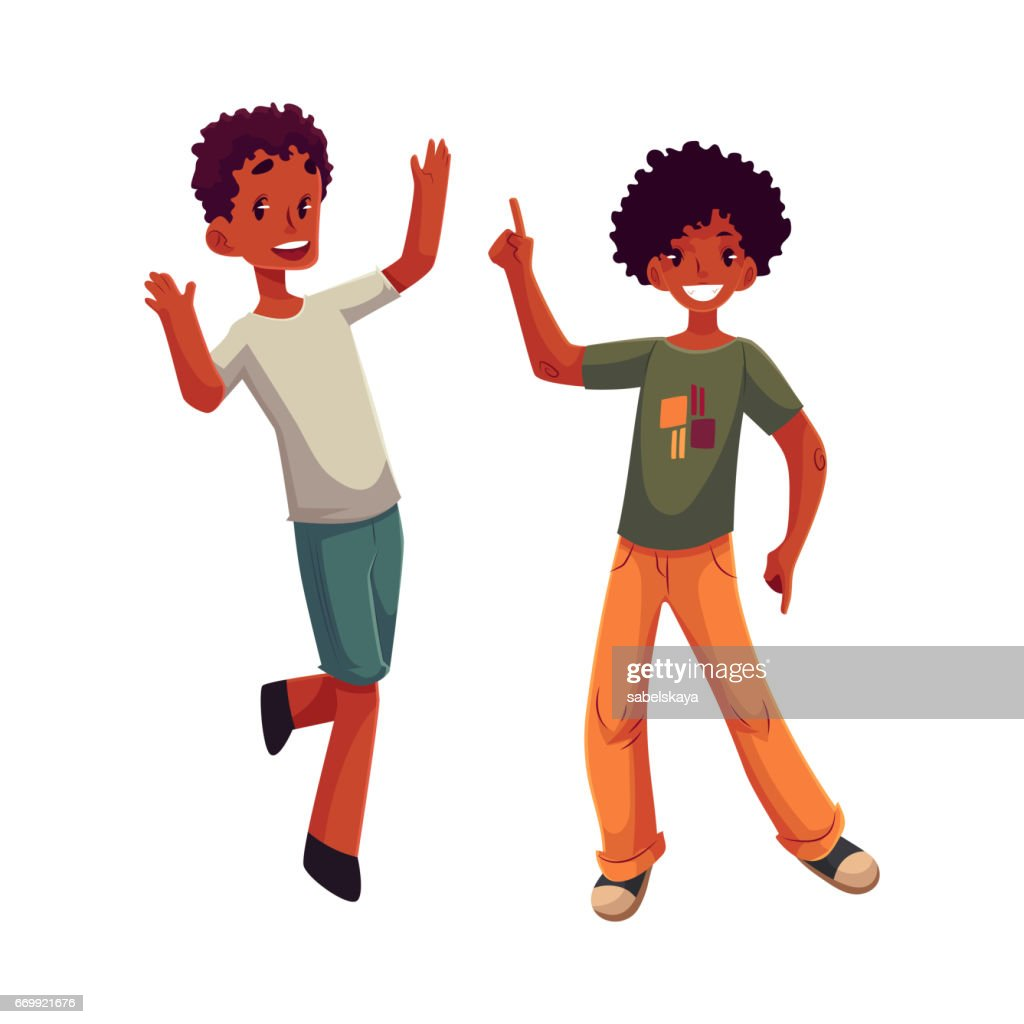 Black, African American boys, kids having fun, dancing at party