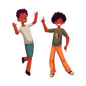 Black, African American boys, kids having fun, dancing at party