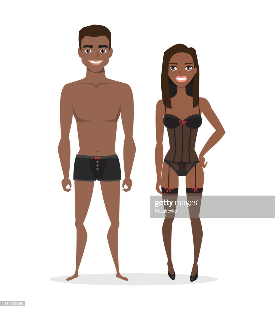 black african american man and woman in lingerie. Cartoon style.