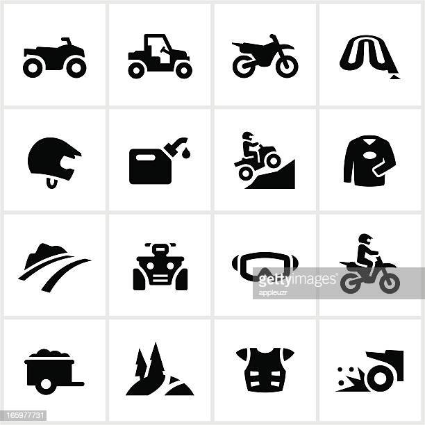 black all terrain vehicle icons - motocross stock illustrations, clip art, cartoons, & icons