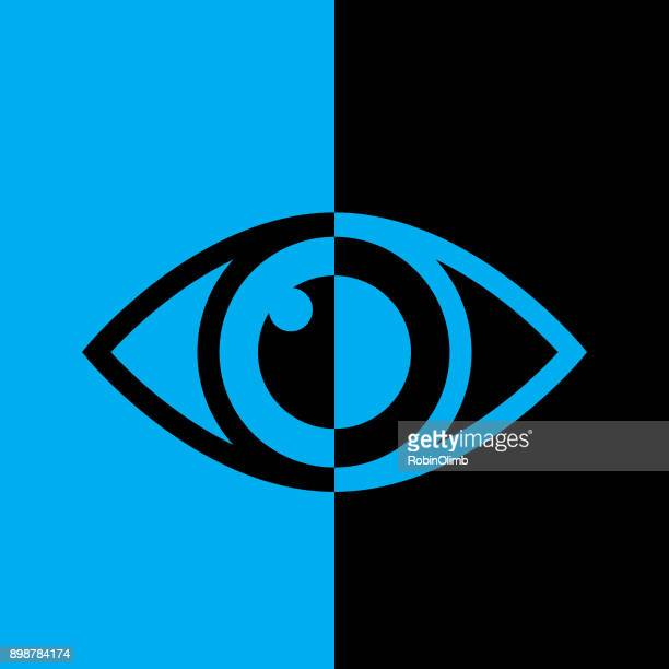 black and blue eye icon - ophthalmology stock illustrations, clip art, cartoons, & icons