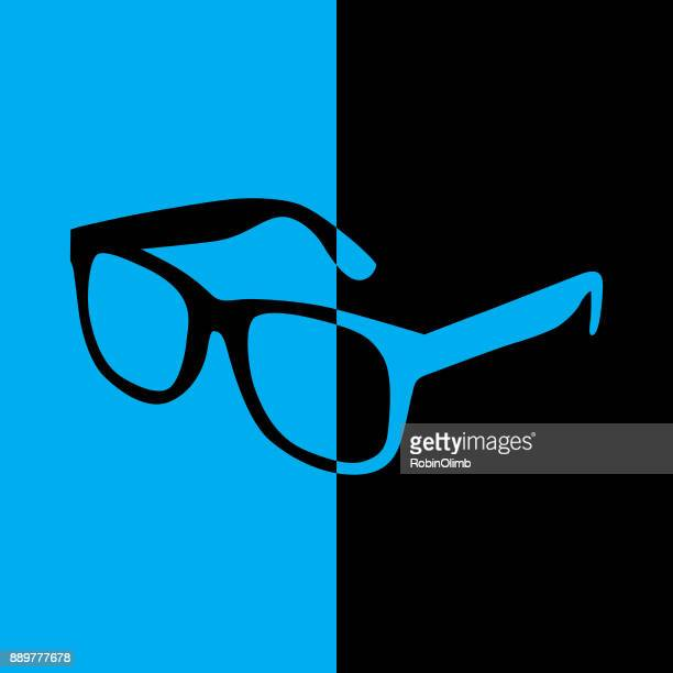 black and blue eyeglasses icon - ophthalmology stock illustrations, clip art, cartoons, & icons